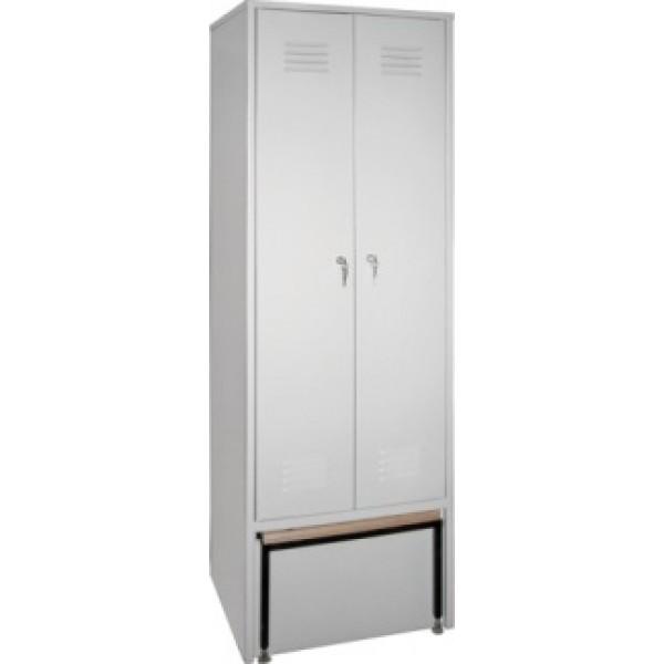 Металлический гардеробный шкаф ШО-2С с выдвижной скамейкой